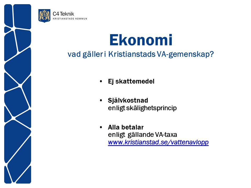 Ekonomi vad gäller i Kristianstads VA-gemenskap? Ej skattemedel Självkostnad enligt skälighetsprincip Alla betalar enligt gällande VA-taxa www.kristia