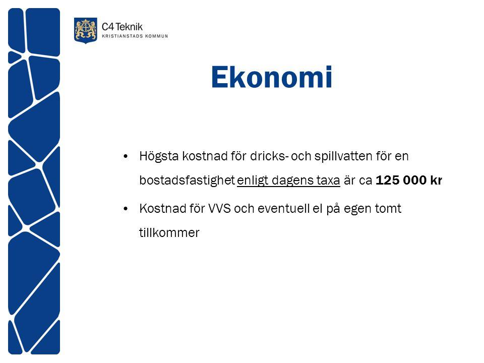 Ekonomi Högsta kostnad för dricks- och spillvatten för en bostadsfastighet enligt dagens taxa är ca 125 000 kr Kostnad för VVS och eventuell el på ege