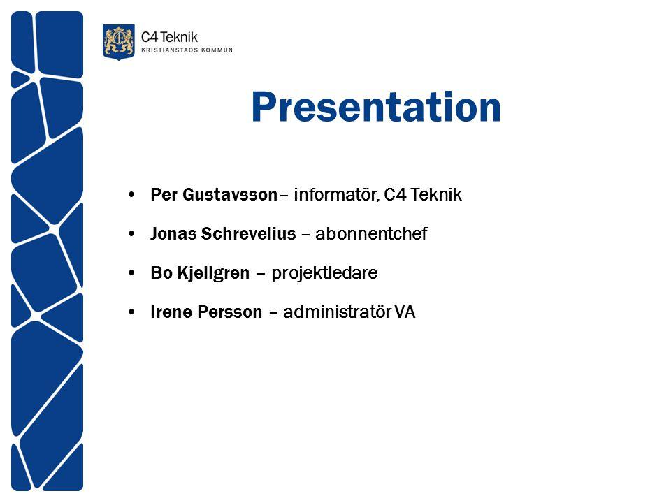 Presentation Per Gustavsson– informatör, C4 Teknik Jonas Schrevelius – abonnentchef Bo Kjellgren – projektledare Irene Persson – administratör VA