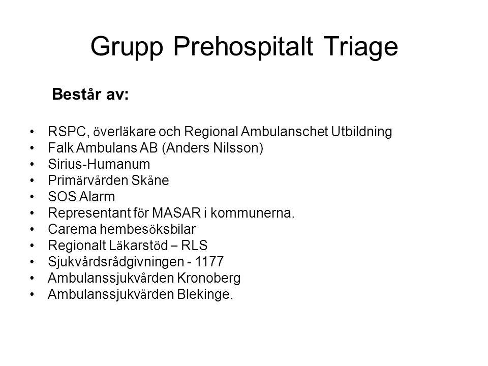 Grupp Prehospitalt Triage Best å r av: RSPC, ö verl ä kare och Regional Ambulanschet Utbildning Falk Ambulans AB (Anders Nilsson) Sirius-Humanum Prim