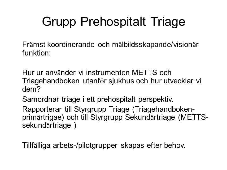 Grupp Prehospitalt Triage Fr ä mst koordinerande och m å lbildsskapande/vision ä r funktion: Hur ur anv ä nder vi instrumenten METTS och Triagehandbok