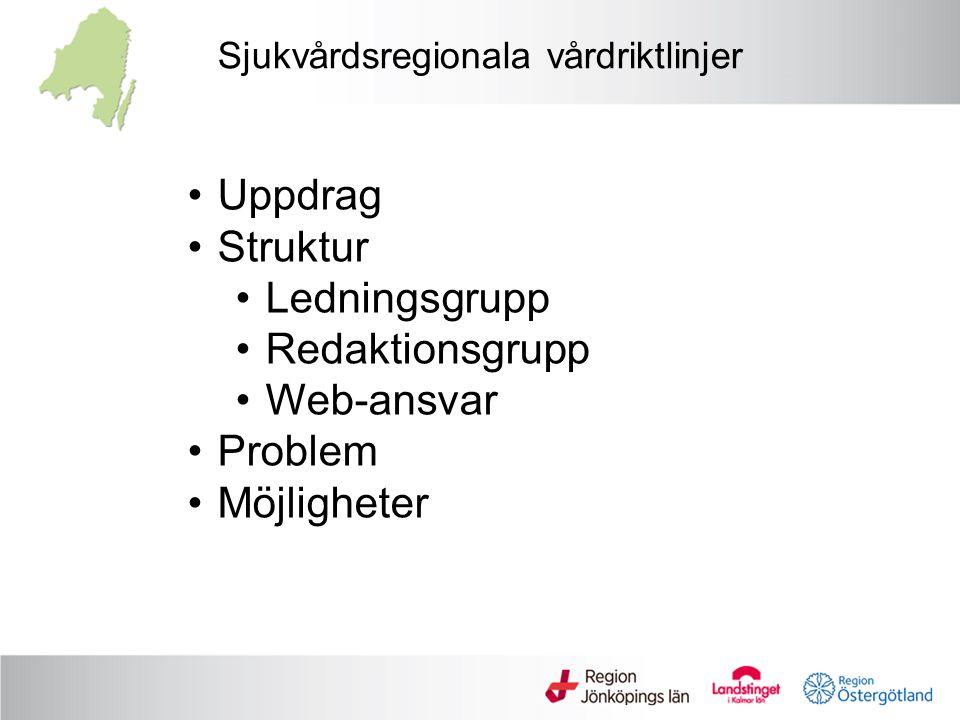 Sjukvårdsregionala vårdriktlinjer Uppdrag Struktur Ledningsgrupp Redaktionsgrupp Web-ansvar Problem Möjligheter