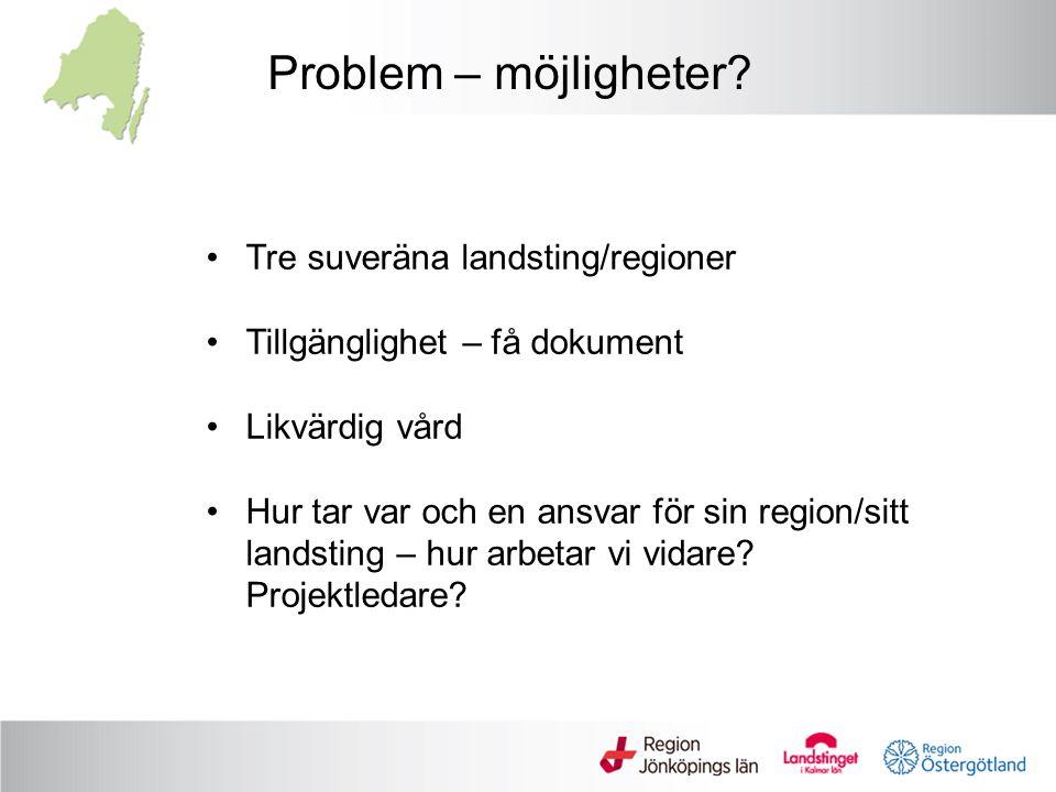 Problem – möjligheter? Tre suveräna landsting/regioner Tillgänglighet – få dokument Likvärdig vård Hur tar var och en ansvar för sin region/sitt lands