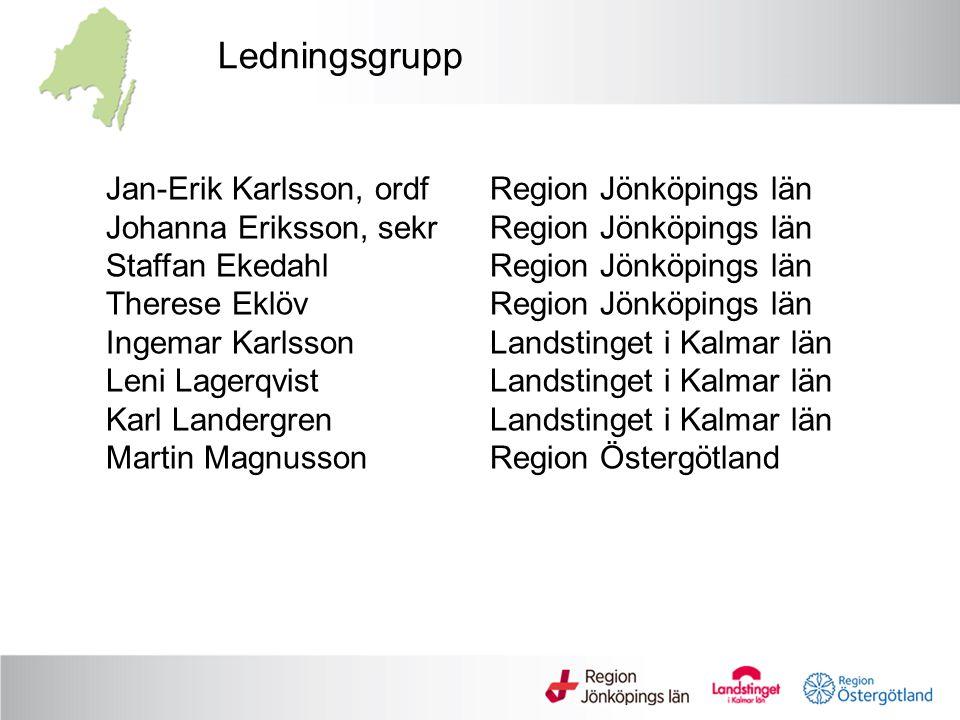Ledningsgrupp Jan-Erik Karlsson, ordfRegion Jönköpings län Johanna Eriksson, sekrRegion Jönköpings län Staffan EkedahlRegion Jönköpings län Therese Ek