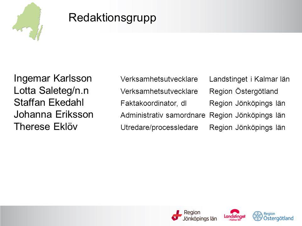 Redaktionsgrupp Ingemar Karlsson VerksamhetsutvecklareLandstinget i Kalmar län Lotta Saleteg/n.n VerksamhetsutvecklareRegion Östergötland Staffan Eked