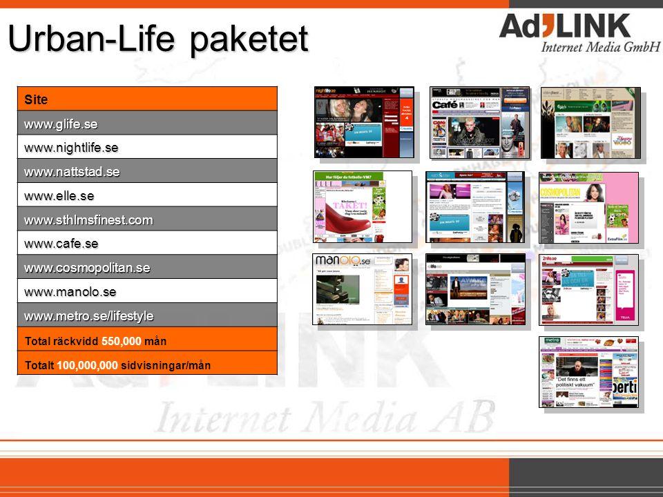 Urban-Life paketet Sitewww.glife.se www.nightlife.se www.nattstad.se www.elle.se www.sthlmsfinest.com www.cafe.se www.cosmopolitan.se www.manolo.se www.metro.se/lifestyle Total räckvidd 550,000 mån Totalt 100,000,000 sidvisningar/mån
