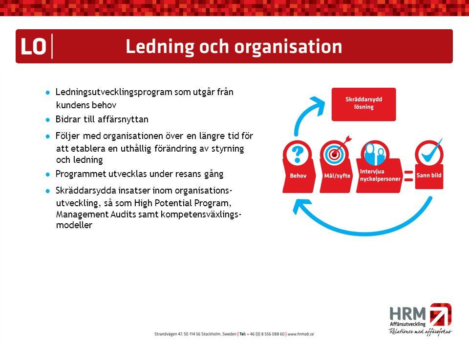 ● Ledningsutvecklingsprogram som utgår från kundens behov ● Bidrar till affärsnyttan ● Följer med organisationen över en längre tid för att etablera e