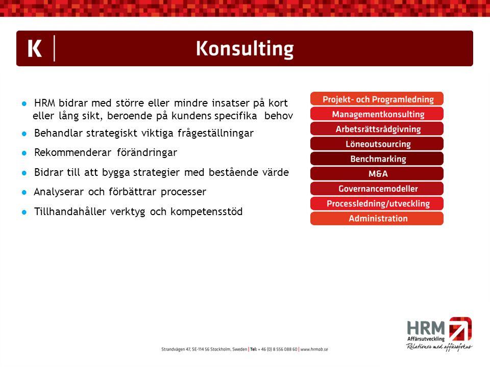 ● HRM bidrar med större eller mindre insatser på kort eller lång sikt, beroende på kundens specifika behov ● Behandlar strategiskt viktiga frågeställn
