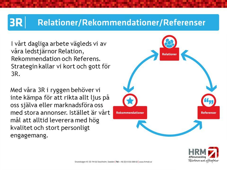 I vårt dagliga arbete vägleds vi av våra ledstjärnor Relation, Rekommendation och Referens. Strategin kallar vi kort och gott för 3R. Med våra 3R i ry