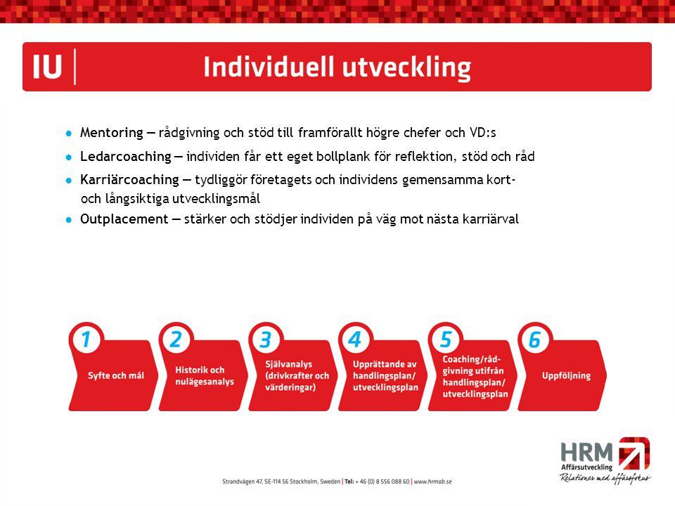 ● Mentoring ― rådgivning och stöd till framförallt högre chefer och VD:s ● Ledarcoaching ― individen får ett eget bollplank för reflektion, stöd och r