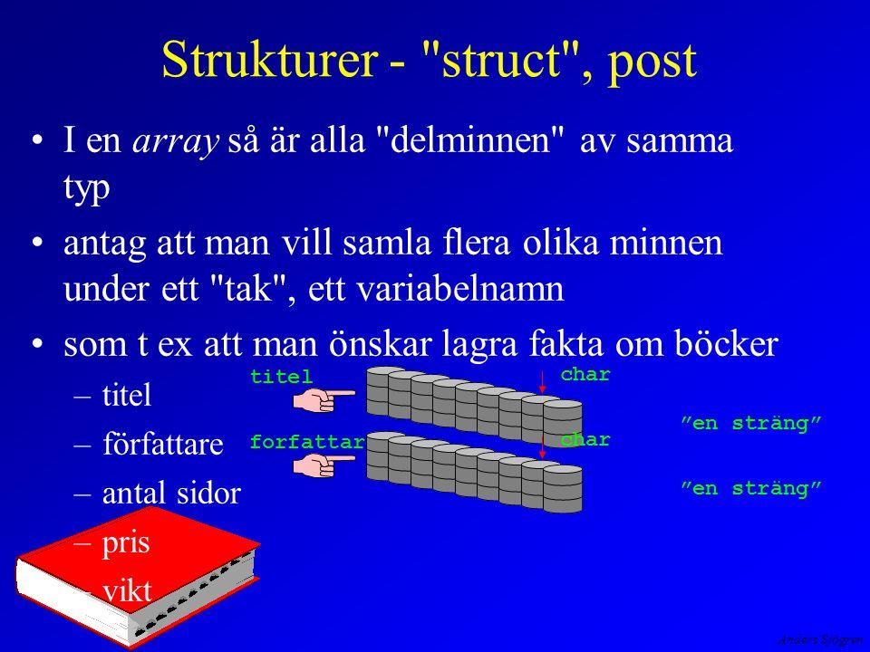 Anders Sjögren Strukturer - struct , post I en array så är alla delminnen av samma typ antag att man vill samla flera olika minnen under ett tak , ett variabelnamn som t ex att man önskar lagra fakta om böcker –titel –författare –antal sidor –pris –vikt titel char en sträng forfattare char en sträng