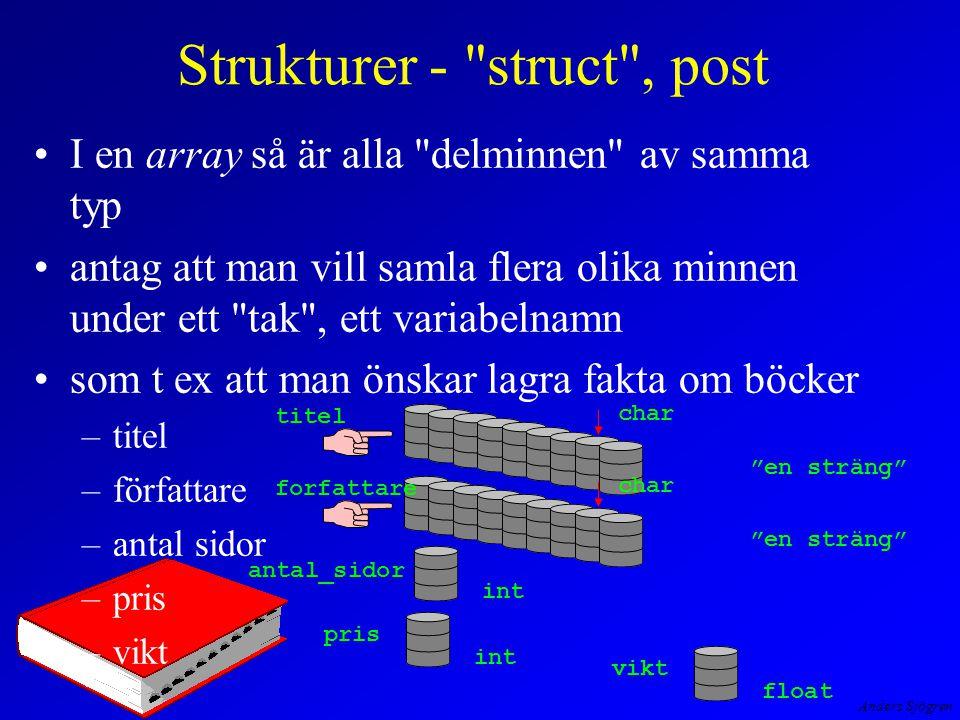 Anders Sjögren Strukturer - struct , post I en array så är alla delminnen av samma typ antag att man vill samla flera olika minnen under ett tak , ett variabelnamn som t ex att man önskar lagra fakta om böcker –titel –författare –antal sidor –pris –vikt titel char en sträng char en sträng antal_sidor int pris int vikt float forfattare