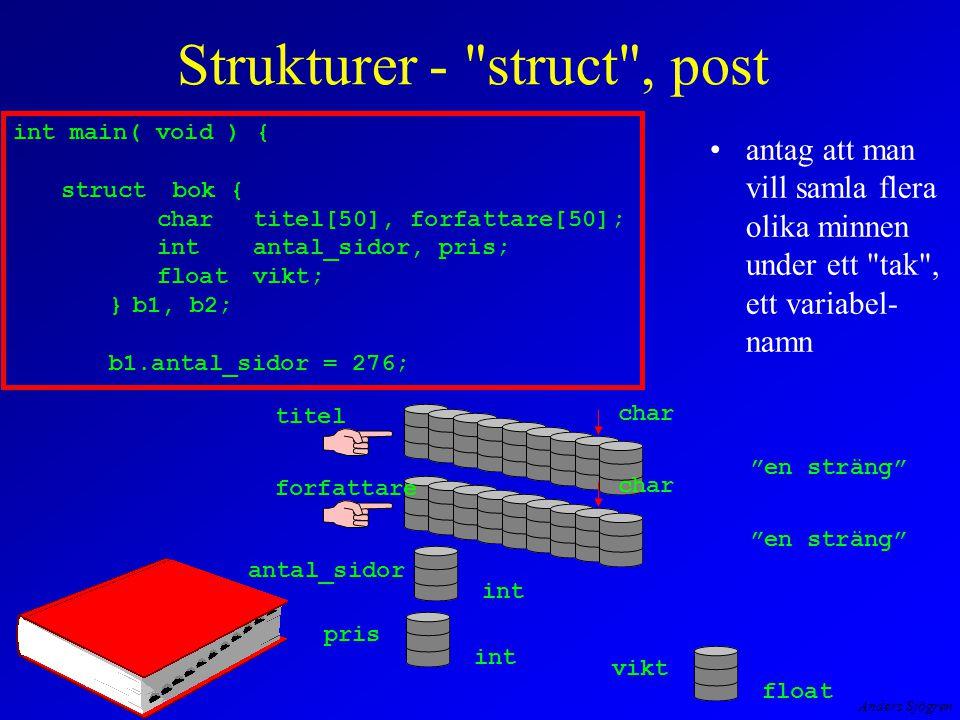 Anders Sjögren Strukturer - struct , post antag att man vill samla flera olika minnen under ett tak , ett variabel- namn titel char en sträng char en sträng antal_sidor int pris int vikt float int main( void ) { struct bok { chartitel[50], forfattare[50]; intantal_sidor, pris; floatvikt; }b1, b2; b1.antal_sidor = 276; forfattare