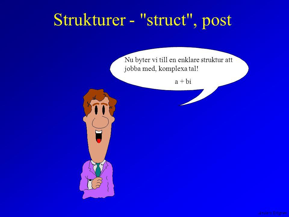 Anders Sjögren Strukturer - struct , post Nu byter vi till en enklare struktur att jobba med, komplexa tal.