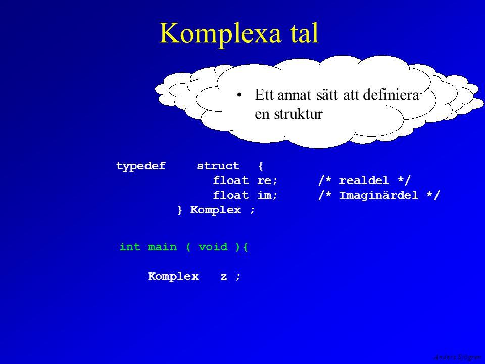 Anders Sjögren Komplexa tal typedefstruct { floatre; /* realdel */ float im; /* Imaginärdel */ } Komplex ; int main ( void ){ Komplexz ; Ett annat sätt att definiera en struktur