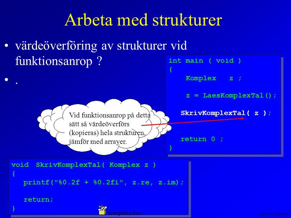 Anders Sjögren Arbeta med strukturer värdeöverföring av strukturer vid funktionsanrop .