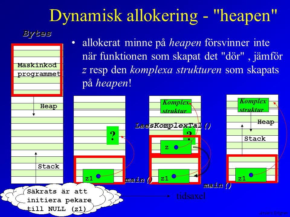 Anders Sjögren Dynamisk allokering - heapen allokerat minne på heapen försvinner inte när funktionen som skapat det dör , jämför z resp den komplexa strukturen som skapats på heapen.