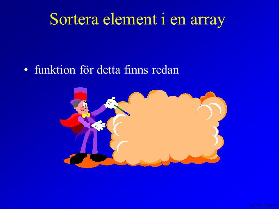 Anders Sjögren Sortera element i en array funktion för detta finns redan