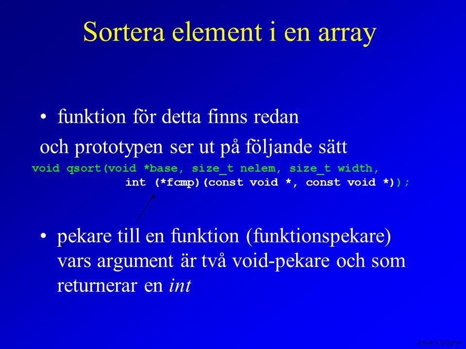 Anders Sjögren Sortera element i en array funktion för detta finns redan och prototypen ser ut på följande sätt pekare till en funktion (funktionspekare) vars argument är två void-pekare och som returnerar en int void qsort(void *base, size_t nelem, size_t width, int (*fcmp)(const void *, const void *));