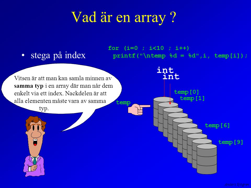 Anders Sjögren Vad är en array ? stega på index int temp[1] temp[9] temp temp[0] temp[6] int for (i=0 ; i<10 ; i++) printf(