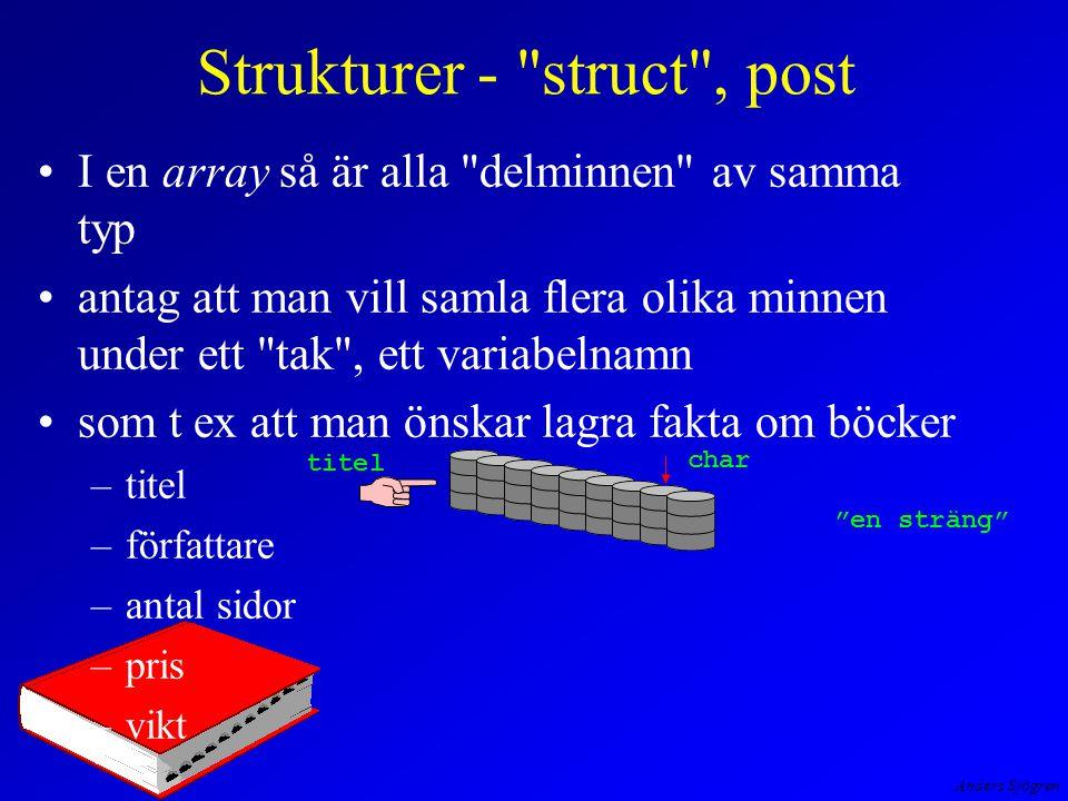 Anders Sjögren Strukturer - struct , post I en array så är alla delminnen av samma typ antag att man vill samla flera olika minnen under ett tak , ett variabelnamn som t ex att man önskar lagra fakta om böcker –titel –författare –antal sidor –pris –vikt titel char en sträng