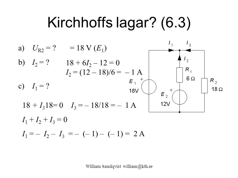 William Sandqvist william@kth.se Kirchhoffs lagar? (6.3) a) U R2 = ? b) I 2 = ? c) I 1 = ? = 18 V (E 1 ) 18 + 6I 2 – 12 = 0 I 2 = (12 – 18)/6 = – 1 A