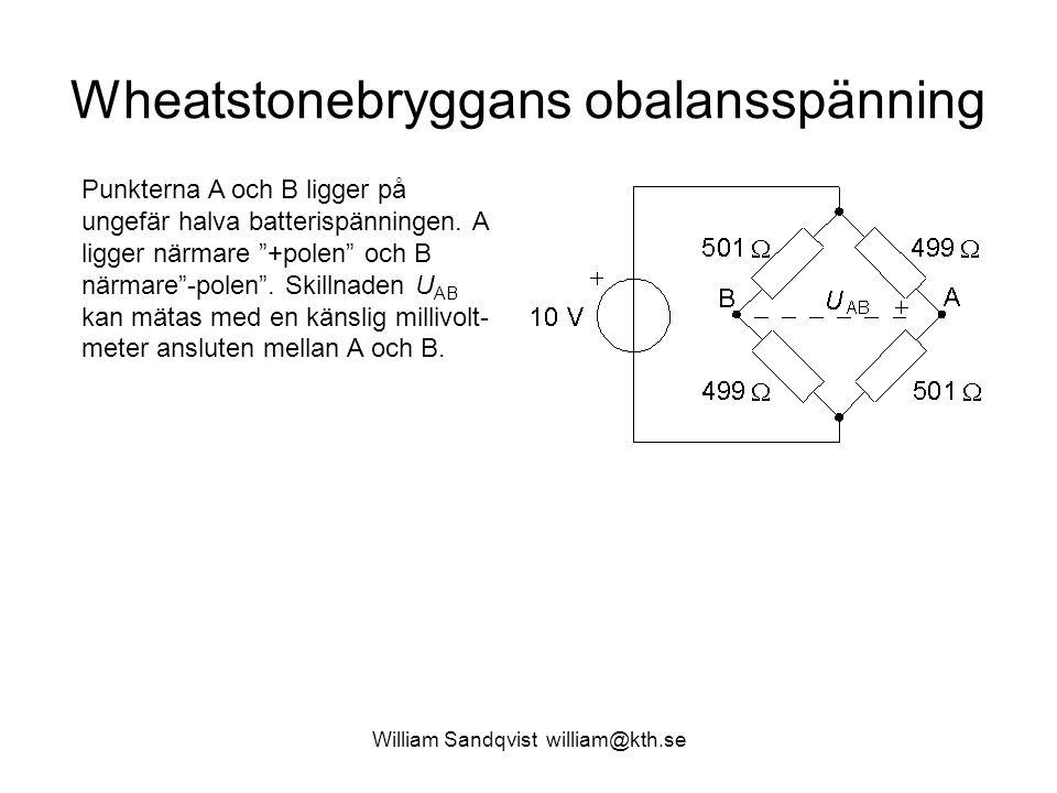 """Wheatstonebryggans obalansspänning Punkterna A och B ligger på ungefär halva batterispänningen. A ligger närmare """"+polen"""" och B närmare""""-polen"""". Skill"""