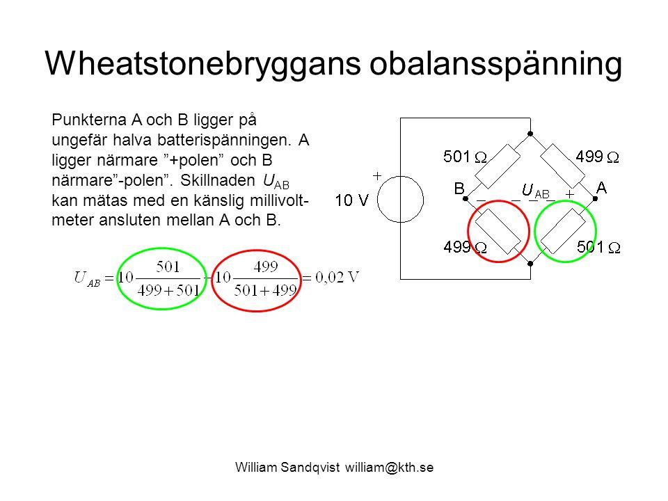 William Sandqvist william@kth.se Wheatstonebryggans obalansspänning Punkterna A och B ligger på ungefär halva batterispänningen.