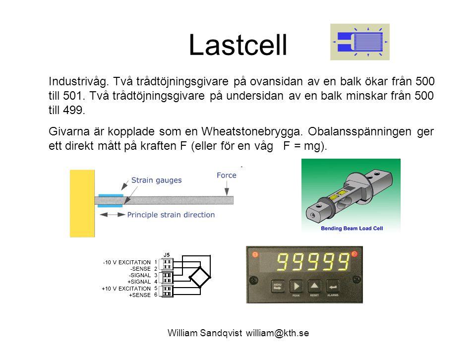 William Sandqvist william@kth.se Lastcell Industrivåg. Två trådtöjningsgivare på ovansidan av en balk ökar från 500 till 501. Två trådtöjningsgivare p