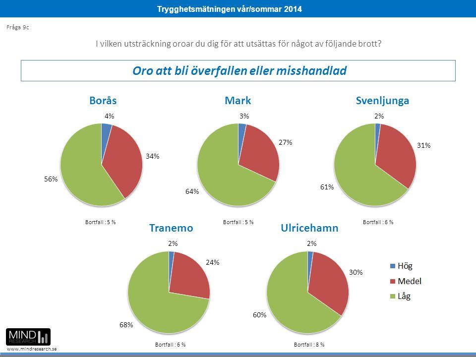 Trygghetsmätningen vår/sommar 2014 www.mindresearch.se Bortfall : 5 % Bortfall : 6 % Bortfall : 8 % I vilken utsträckning oroar du dig för att utsättas för något av följande brott.