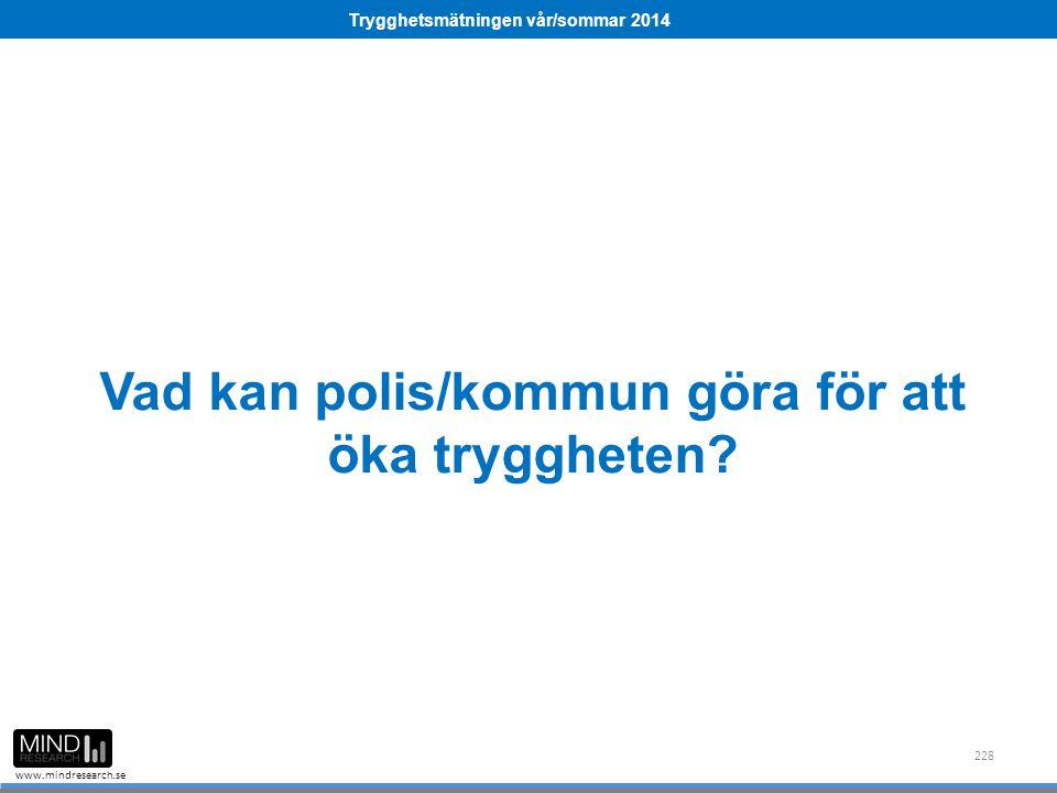 Trygghetsmätningen vår/sommar 2014 www.mindresearch.se Vad kan polis/kommun göra för att öka tryggheten? 228