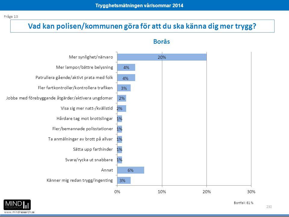 Trygghetsmätningen vår/sommar 2014 www.mindresearch.se 230 Vad kan polisen/kommunen göra för att du ska känna dig mer trygg? Fråga 13 Borås Bortfall: