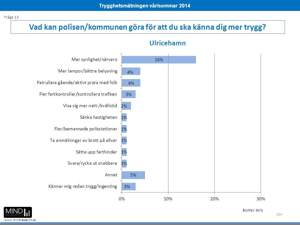 Trygghetsmätningen vår/sommar 2014 www.mindresearch.se 234 Vad kan polisen/kommunen göra för att du ska känna dig mer trygg.
