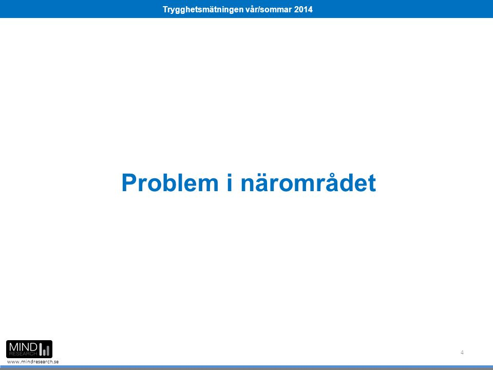 Trygghetsmätningen vår/sommar 2014 www.mindresearch.se Problem i närområdet 4