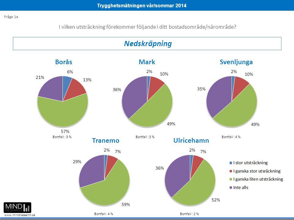 Trygghetsmätningen vår/sommar 2014 www.mindresearch.se I vilken utsträckning förekommer följande i ditt bostadsområde/närområde.