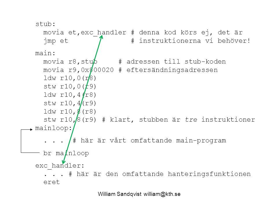 stub: movia et,exc_handler # denna kod körs ej, det är jmp et # instruktionerna vi behöver! main: movia r8,stub # adressen till stub-koden movia r9,0x