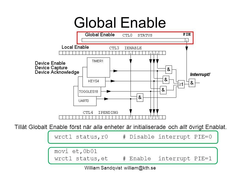William Sandqvist william@kth.se Global Enable Tillåt Globalt Enable först när alla enheter är initialiserade och allt övrigt Enablat. wrctl status,r0