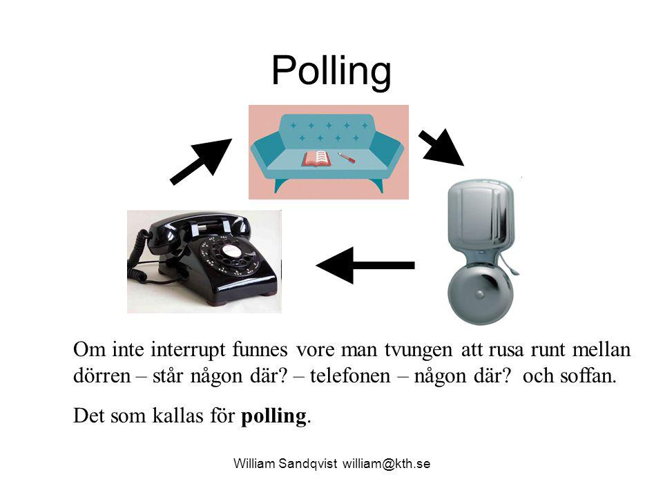 William Sandqvist william@kth.se Polling Om inte interrupt funnes vore man tvungen att rusa runt mellan dörren – står någon där? – telefonen – någon d