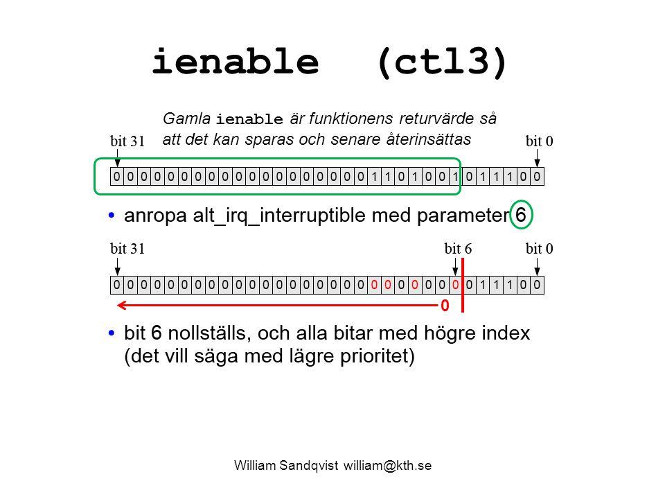 William Sandqvist william@kth.se ienable (ctl3) 0 Gamla ienable är funktionens returvärde så att det kan sparas och senare återinsättas