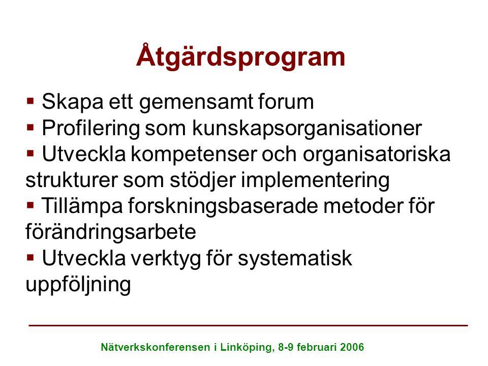 Nätverkskonferensen i Linköping, 8-9 februari 2006 Åtgärdsprogram   Skapa ett gemensamt forum   Profilering som kunskapsorganisationer   Utveckl