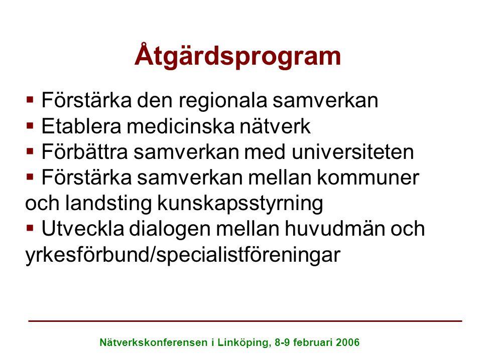 Nätverkskonferensen i Linköping, 8-9 februari 2006 Åtgärdsprogram   Förstärka den regionala samverkan   Etablera medicinska nätverk   Förbättra