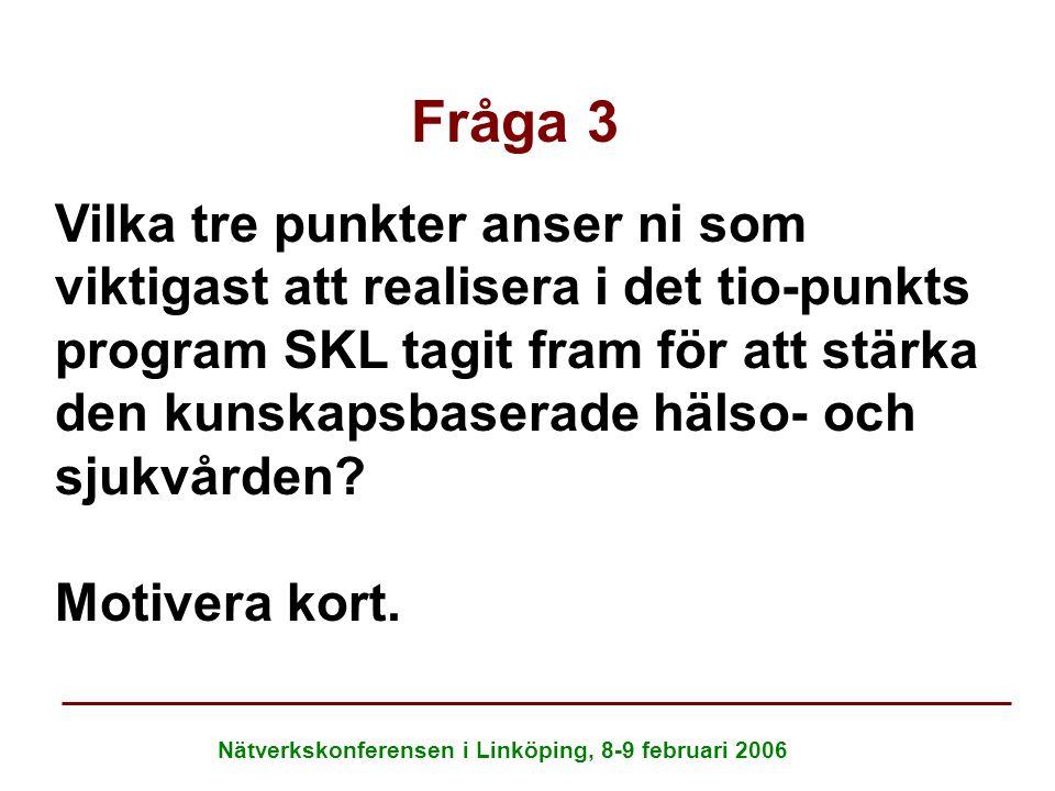 Nätverkskonferensen i Linköping, 8-9 februari 2006 Fråga 3 Vilka tre punkter anser ni som viktigast att realisera i det tio-punkts program SKL tagit f