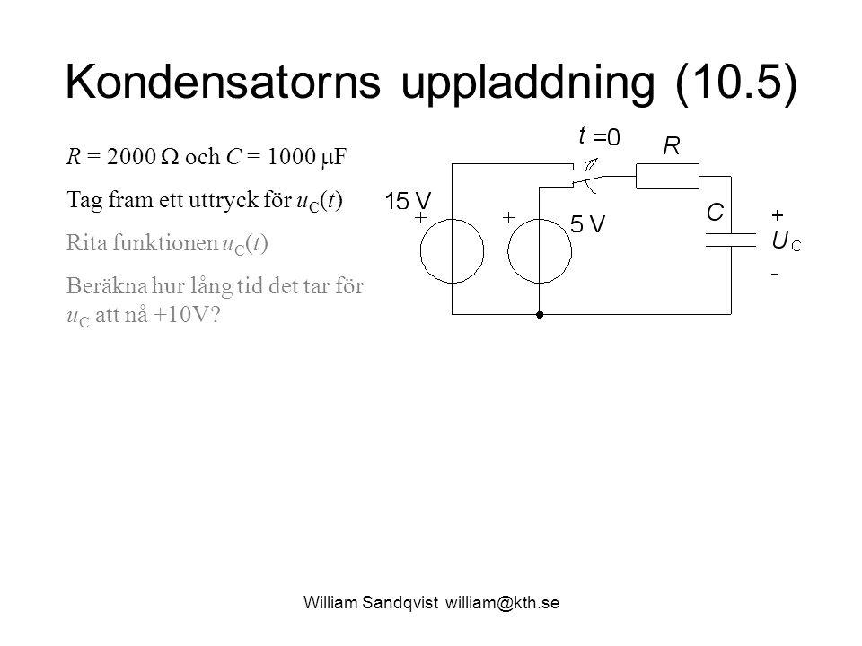 Kondensatorns uppladdning (10.5) R = 2000  och C = 1000  F Tag fram ett uttryck för u C (t) Rita funktionen u C (t) Beräkna hur lång tid det tar för u C att nå +10V