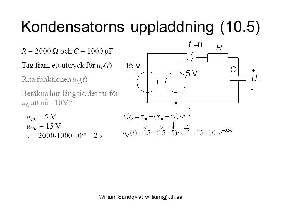 William Sandqvist william@kth.se Kondensatorns uppladdning (10.5) R = 2000  och C = 1000  F Tag fram ett uttryck för u C (t) Rita funktionen u C (t) Beräkna hur lång tid det tar för u C att nå +10V.