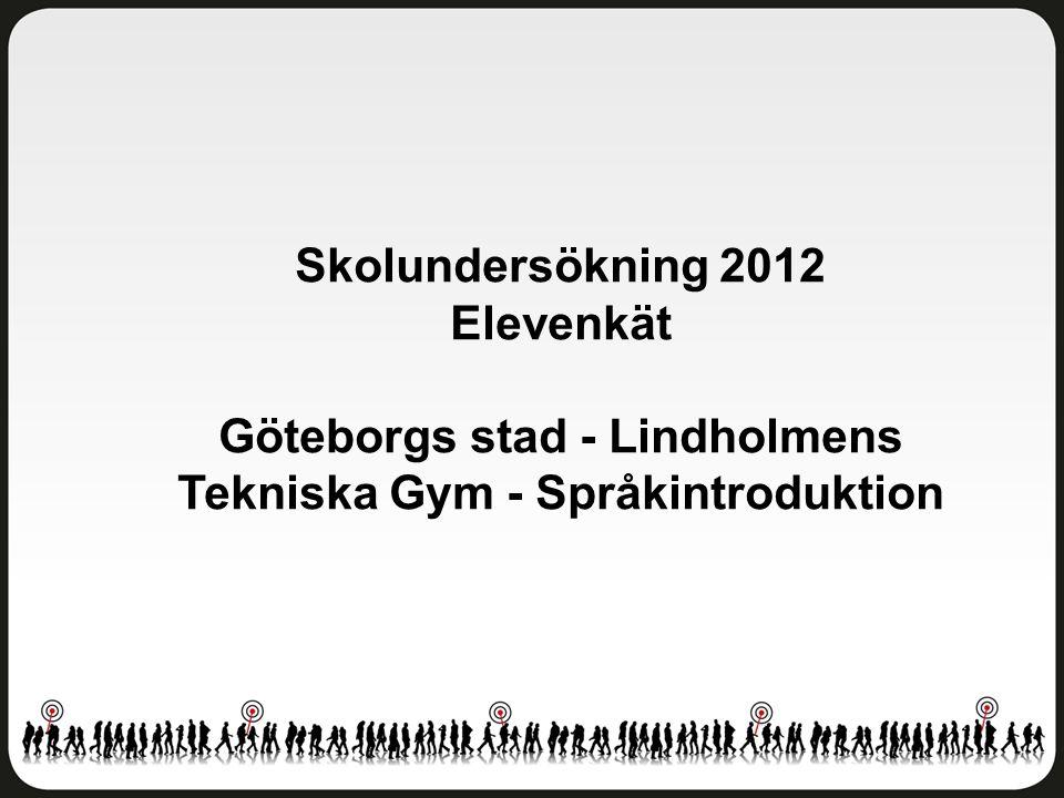 Skolundersökning 2012 Elevenkät Göteborgs stad - Lindholmens Tekniska Gym - Språkintroduktion