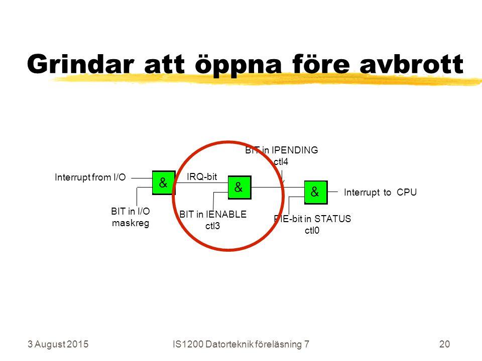 Grindar att öppna före avbrott 3 August 2015IS1200 Datorteknik föreläsning 720 && & Interrupt to CPU PIE-bit in STATUS ctl0 BIT in IENABLE ctl3 BIT in I/O maskreg Interrupt from I/O BIT in IPENDING ctl4 IRQ-bit