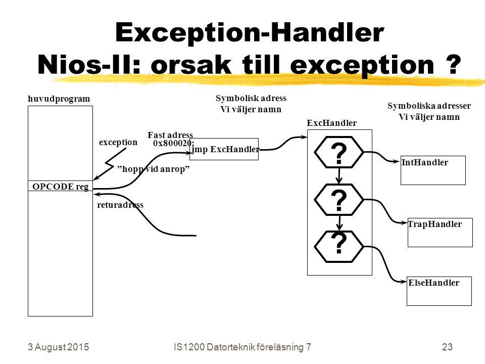 3 August 2015IS1200 Datorteknik föreläsning 723 Exception-Handler Nios-II: orsak till exception .