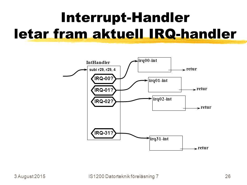 3 August 2015IS1200 Datorteknik föreläsning 726 Interrupt-Handler letar fram aktuell IRQ-handler IntHandler irq00-int irq01-int irq31-int retur IRQ-00.