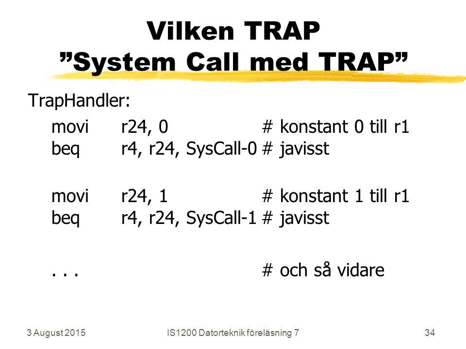 3 August 2015IS1200 Datorteknik föreläsning 734 Vilken TRAP System Call med TRAP TrapHandler: movir24, 0# konstant 0 till r1 beqr4, r24, SysCall-0# javisst movir24, 1# konstant 1 till r1 beqr4, r24, SysCall-1# javisst...# och så vidare