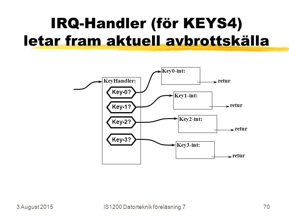 3 August 2015IS1200 Datorteknik föreläsning 770 IRQ-Handler (för KEYS4) letar fram aktuell avbrottskälla KeyHandler: Key0-int: Key1-int: Key3-int: retur Key-0.